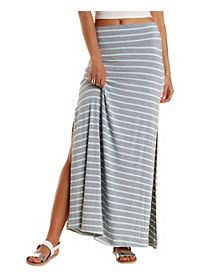 Striped Double Slit Maxi Skirt