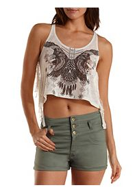 Eagle Graphic Rope Strap Crop Top