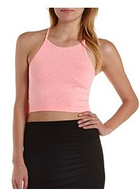 Racer Front Slub Knit Crop Top