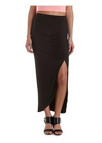 Ruched Front Slit Maxi Skirt