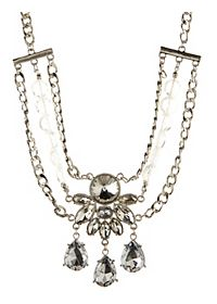 Rhinestone Chain Statement Bib Necklace