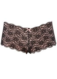 Contrast-Lined Lace Boyshort Panties