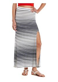 Variegated Stripe Single Slit Maxi Skirt