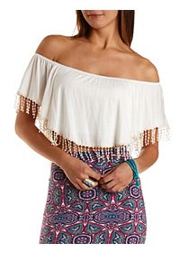 Crocheted Fringe Flutter Crop Top