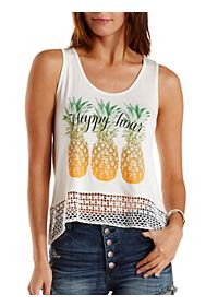 Crochet-Trim Happy Hour Graphic Tank Top