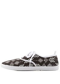 Tribal Print Canvas Sneakers