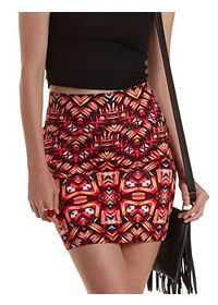 Tribal Print Bodycon Mini Skirt