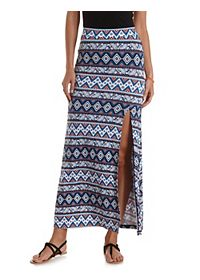 Mixed Print Front Slit Maxi Skirt