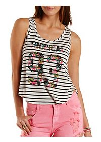 Tropical 93 Graphic Striped Tank Top