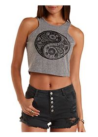 Rhinestone Yin-Yang Graphic Crop Top