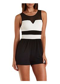 Mesh Yoke Color Block Romper