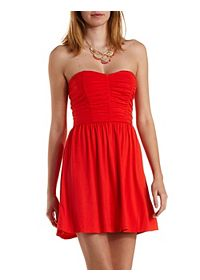 Ruched Strapless Skater Dress
