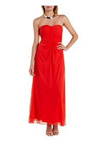 Ruched & Twisted Strapless Maxi Dress