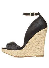 Laser-Cut Peep Toe D'Orsay Wedges