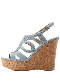 Strappy Braided Chambray Platform Wedges