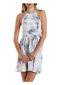 Tropical Print Babydoll Halter Dress