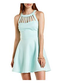Caged Halter Skater Dress