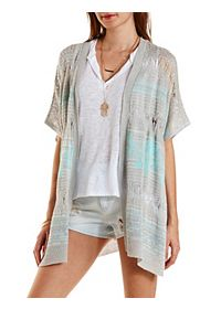 Pointelle Poncho Cardigan Sweater