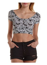 Tropical Print Cross-Back Crop Top