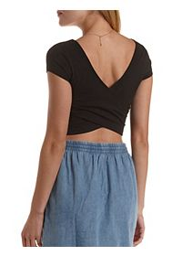 Cap Sleeve Cross-Back Crop Top
