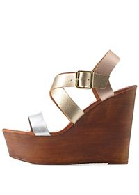 Bamboo Metallic Crisscross Color Block Wedges