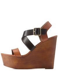 Bamboo Crisscross Color Block Wedges