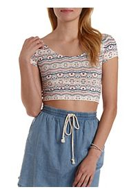 Tribal Print Cross-Back Crop Top