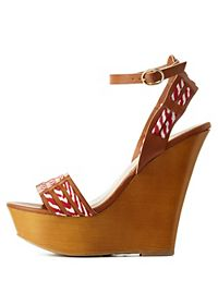 Bamboo Fabric & Faux Leather Platform Wedges