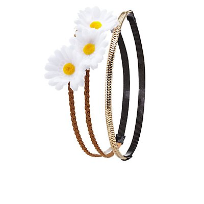Double Daisy Crown & Chain Headband - 2 Pack