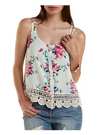Button-Up Floral Print Tank Top