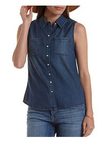 Tulip-Back Button-Up Chambray Shirt