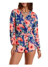 Floral Long Sleeve Wrap Romper