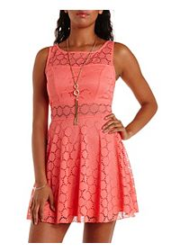 Crochet Cut-Out Skater Dress