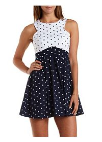 Mixed Polka Dot Racer Front Skater Dress
