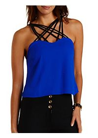 Strappy Caged Color Block Tank Top