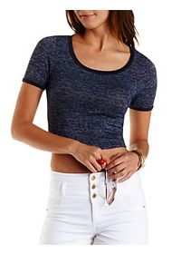 Cropped Marled Ringer Tee