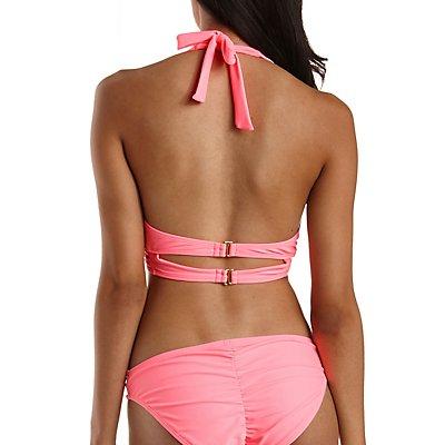 Caged Long Line Push-Up Bikini Top