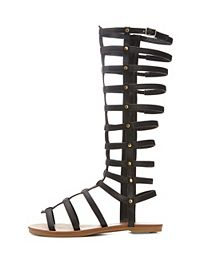 Knee-High Flat Gladiator Sandals