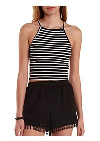 Striped & Ribbed Crop Top