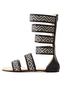 Tribal-Woven Mid-Calf Gladiator Sandals
