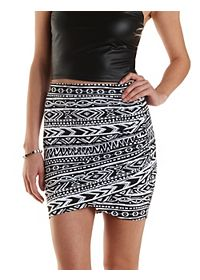 Aztec Print Ruched Mini Skirt