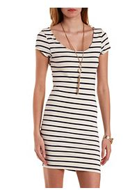 Cap Sleeve Striped Bodycon Dress