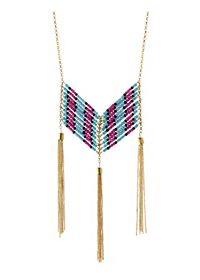 Beaded Chain & Tassel Necklace