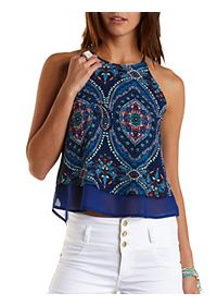 Paisley Print Racer Front Tank Top