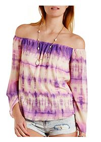Chiffon Tie-Dye Off-the-Shoulder Top