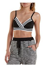 Sporty Striped Wrap Crop Top