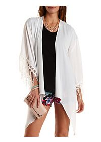 Crochet-Trim High-Low Kimono