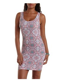 Tribal Print Bodycon Tank Dress