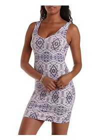 Printed Scalloped Sweetheart Bodycon Dress