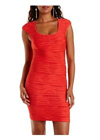 Wavy Pin-Tuck Bodycon Dress